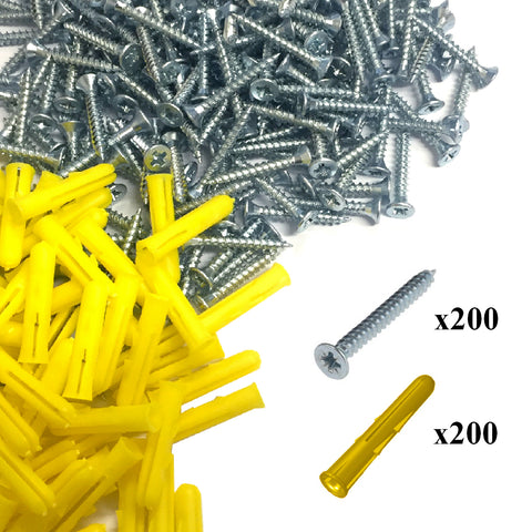 400 x Pozi Screws & Yellow Raw Fixing Plugs, 3.5 x 25mm Countersunk