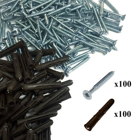 200 x Pozi Screws & Brown Raw Fixing Plugs, 4.2 x 51mm Countersunk