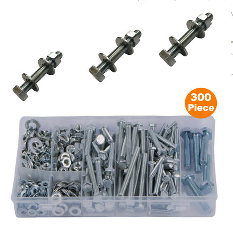 300 x Assorted Set Screw Bolts, Washers & Nuts<br><br>