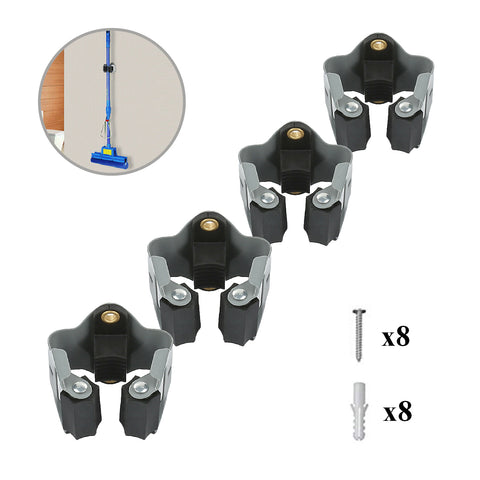 4 x Wall Mounted Brush & Mop Handle Clips<br><br>
