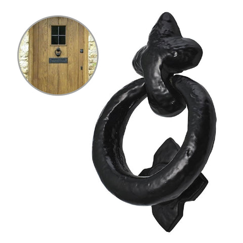 Black Antique Cast Iron Ring Door Handle Knocker<br><br>