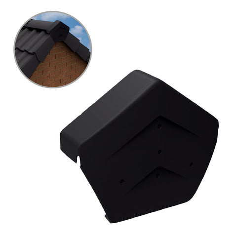 Black Angled Ridge End Cap for Dry Verge Systems<br><br>