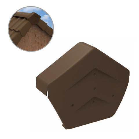 Brown Angled Ridge End Cap for Dry Verge Systems<br><br>