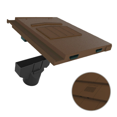 Brown Roof Tile Vent & Pipe Adapter / Marley Modern / Mini Stonewold