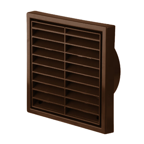 Brown Louvre Extractor Air Vent & Back Draught Shutter 4 Inch