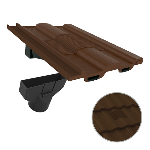 Dark Brown Castellated Roof Tile Vent & Adapter for Marley Ludlow Redland