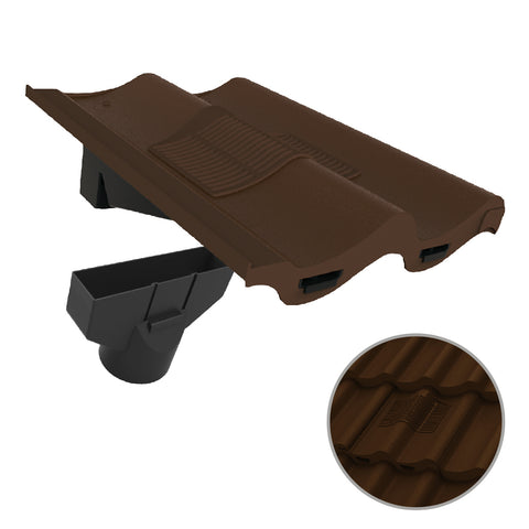 Dark Brown Double Pantile Roof Tile Vent & Adapter / Marley Redland Sandtoft