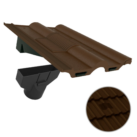 Brown Double Roman Roof Tile Vent & Adapter / Marley Redland Sandtoft