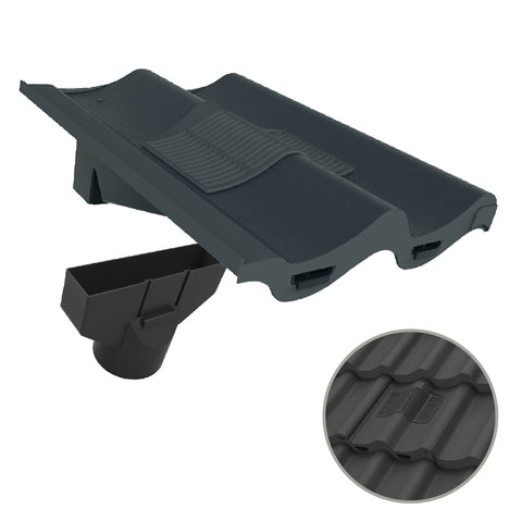 Grey Double Pantile Roof Tile Vent & Adapter / Marley Redland Sandtoft