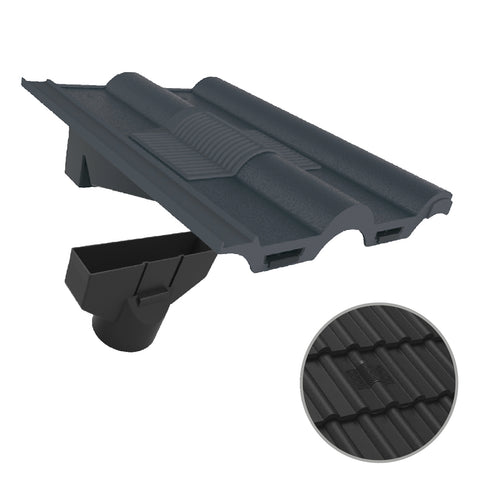 Grey Double Roman Roof Tile Vent & Adapter for Marley Redland Sandtoft