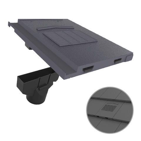 Grey Roof Tile Vent & Pipe Adapter for Marley Modern & Mini Stonewold