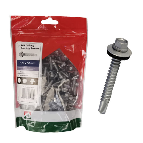 100 x Roofing & Cladding Screws 5.5 x 51mm Self Drill <br><br>