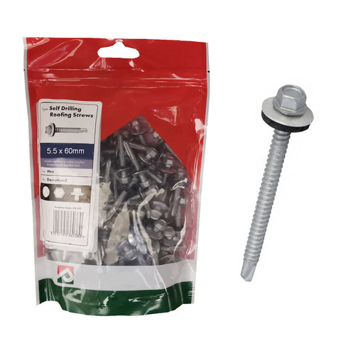100 x Roofing & Cladding Screws 5.5 x 60mm Self Drill <br><br>