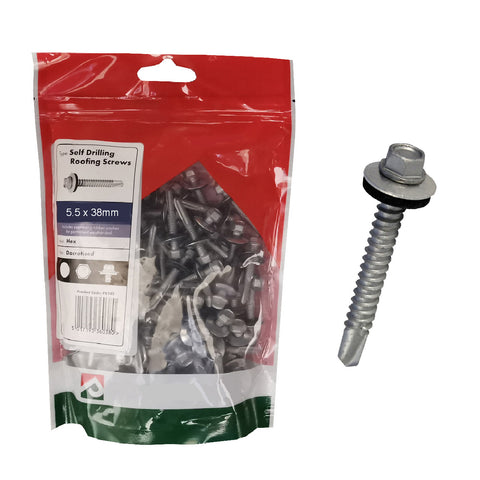 100 x Roofing & Cladding Screws 5.5 x 38mm Self Drill <br><br>