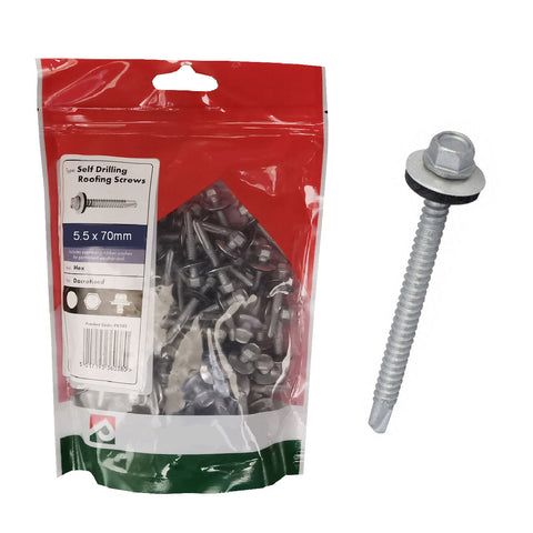 50 x  Roofing & Cladding Screws 5.5 x 70mm Self Drill <br><br>