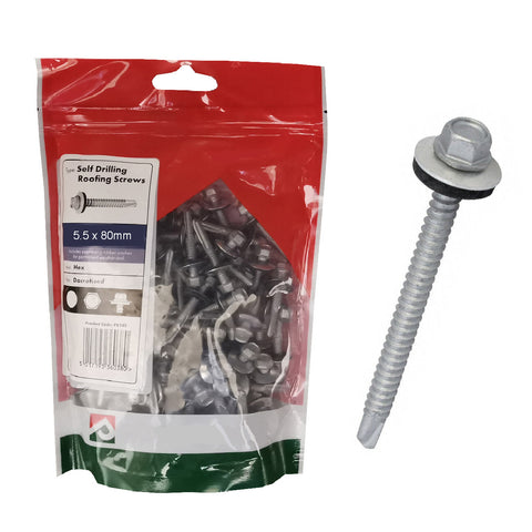 50 x  Roofing & Cladding Screws 5.5 x 80mm Self Drill <br><br>
