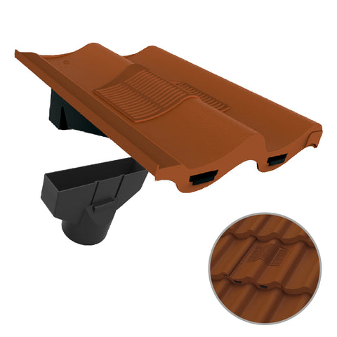 Terracotta Double Pantile Roof Tile Vent & Adapter for Marley Redland Sandtoft