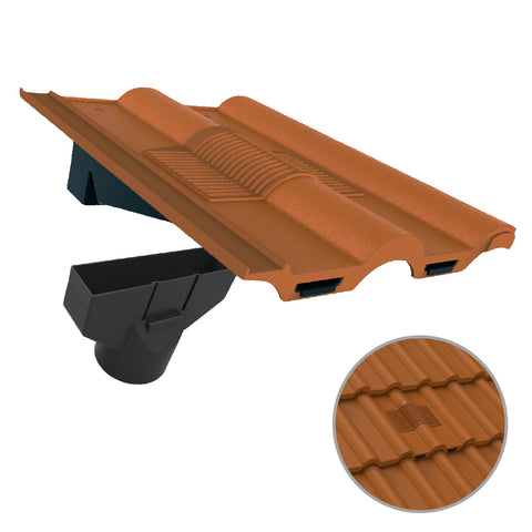 Terracotta Double Roman Roof Tile Vent & Adapter for Marley Redland Sandtoft
