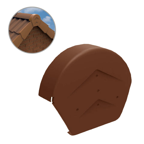 Terracotta Rounded Ridge End Cap for Dry Verge Systems<br>