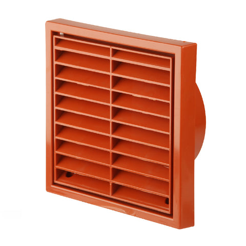Terracotta Louvre Extractor Air Vent & Back Draught Shutter 4 Inch