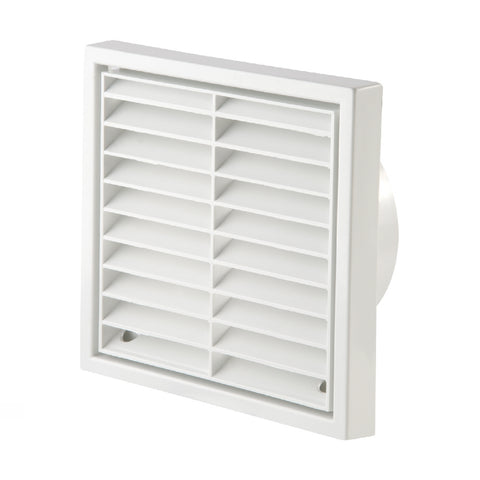 White Louvre Extractor Air Vent & Back Draught Shutter 4 Inch
