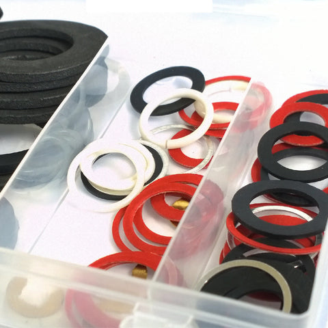 125 x Leaking Tap Reseater Washers, Rubber Nylon Fibre O Rings & C Clips