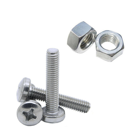 275 x Assorted Metric Machine Screws & Nuts, Fully Thread BZP