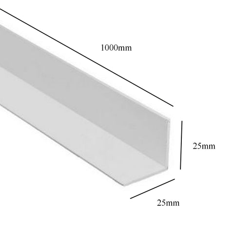 White 1 Metre UPVC Angle 25mm x 25mm Corner Trim <br> Menu Options