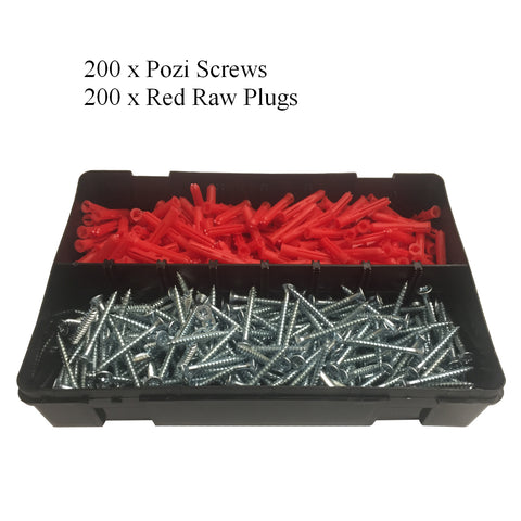 "400 x Pozi Screws & Red Raw Plugs, 8 x 1½"" Twin Thread"