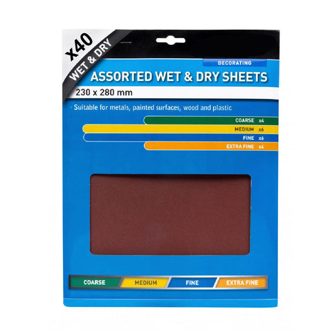 Assorted Wet and Dry Sandpaper Sheets <br> Menu Options