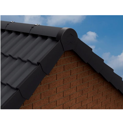 Black Rounded Ridge End Cap for Dry Verge Systems<br><br>