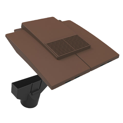 Brown Plain In-line Roof Tile Vent & Pipe Adapter for Concrete and Clay Tiles