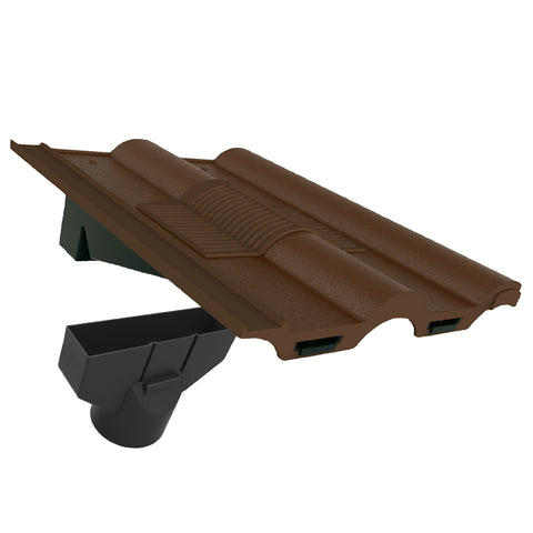 Brown Double Roman Roof Tile Vent & Adapter for Marley Redland Sandtoft