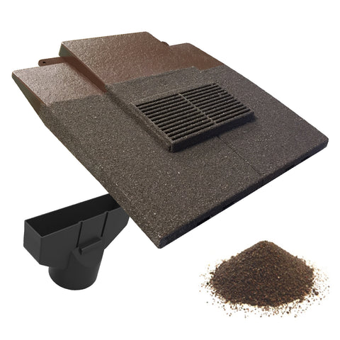 Granulated Antique Brown Plain In-line Roof Tile Vent & Pipe Adapter