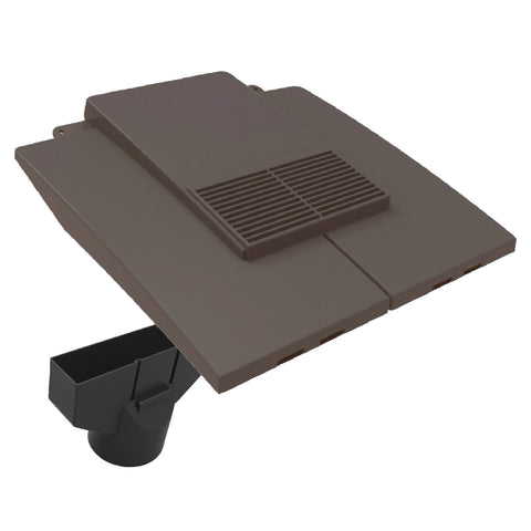Grey Plain In-line Roof Tile Vent & Pipe Adapter for Concrete and Clay Tiles