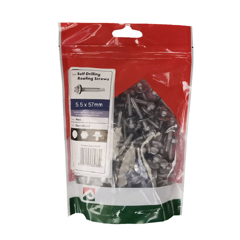 50 x  Roofing & Cladding Screws 5.5 x 57mm Self Drill <br><br>