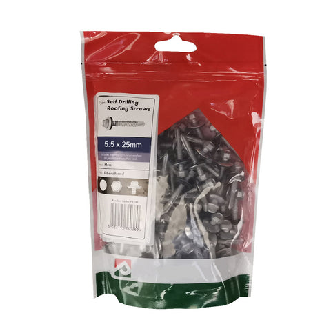 100 x Roofing & Cladding Screws 5.5 x 25mm Self Drill <br><br>