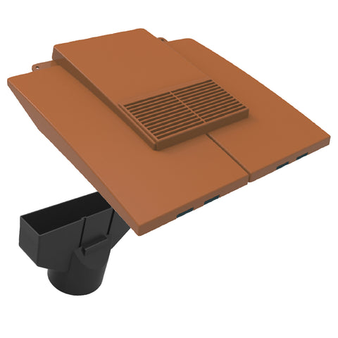 Terracotta Plain In-line Roof Tile Vent & Pipe Adapter / for Concrete and Clay Tiles