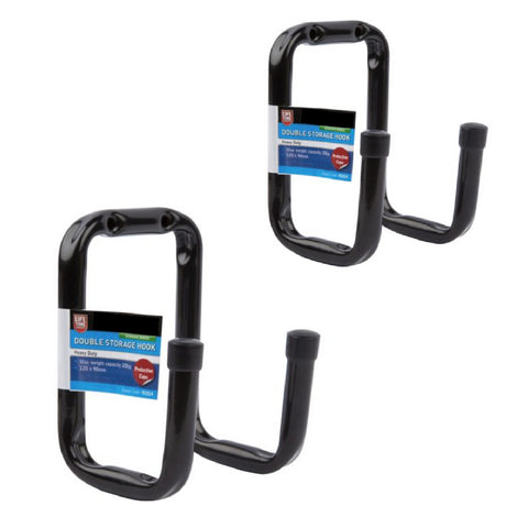 2 x Heavy Duty Double Bike Storage Hooks Wall Mounted<br><br>