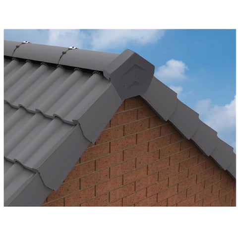 Grey Angled Ridge End Cap for Dry Verge Systems<br><br>