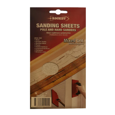 30 x Hook and Loop Mixed Grit 228 x 89mm Hand Sanding Sheets