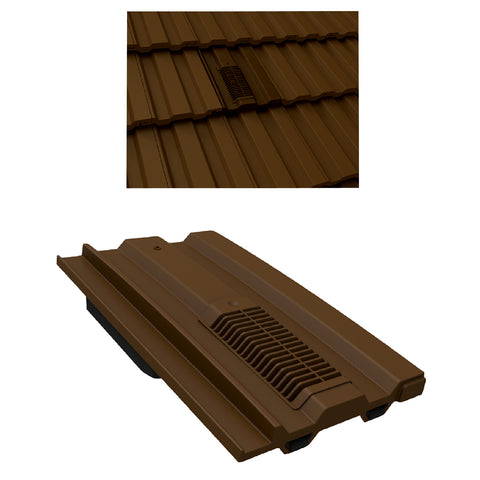 Dark Brown Mini Castellated Roof Tile Vent / Marley Redland Sandtoft