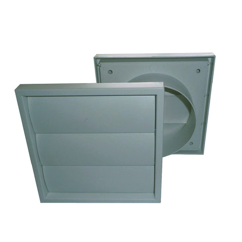 Grey Extractor Fan Air Vent Gravity Flap for 4 Inch Ducting