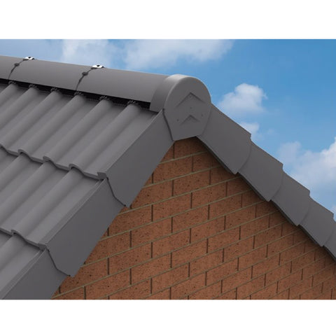 Grey Rounded Ridge End Cap for Dry Verge Systems<br><br>