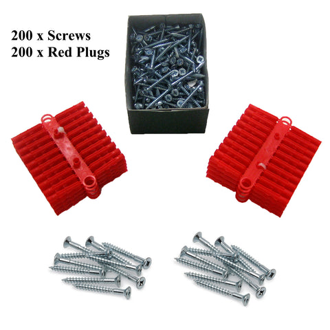 200 x Pozi Screws 40mm <br> 200 x Red Raw Wall Plugs<br><br>