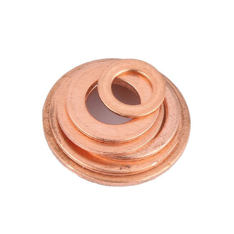 110 x Assorted Copper Washers 6-16mm for sealing fluids and liquids