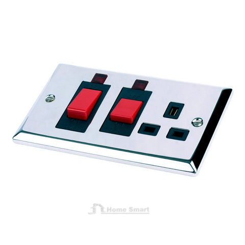Electrical Polished Mirror Chrome Sockets & Switches / Menu Options