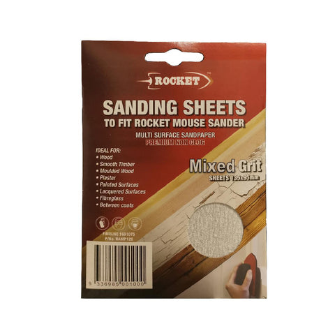 30 x Hook and Loop Mixed Grit 135 x 95mm Mouse Sanding Sheets