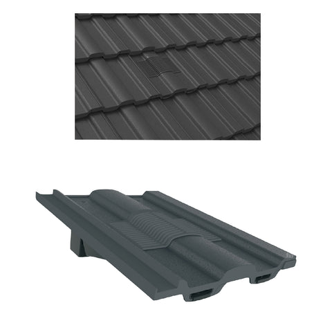 Grey Castellated Roof Tile Vent & Adapter for Marley Ludlow Redland