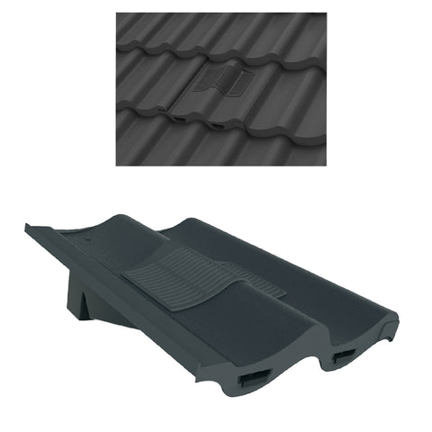 Grey Double Pantile Roof Tile Vent & Adapter for Marley Redland Sandtoft
